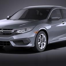 Honda Civic Sedan LX 2017 VRAY 3D Model