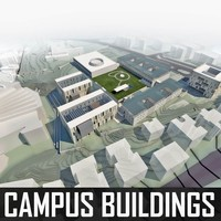Campus Buildings Set 01 3D Model