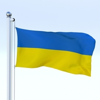 Animated Ukraine Flag 3D Model