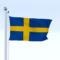 Animated Sweeden Flag 3D Model