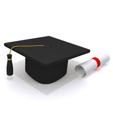 Graduation Cap and Diploma 3D Model