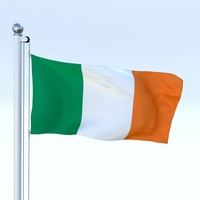 Animated Ireland Flag 3D Model