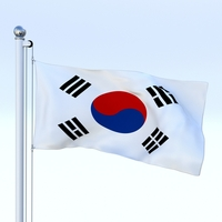 Animated South Korea Flag 3D Model