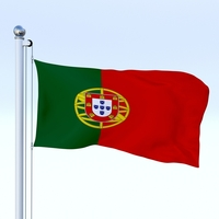 Animated Portugal Flag 3D Model