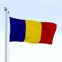 Animated Romania Flag 3D Model