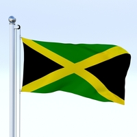 Animated Jamaica Flag 3D Model