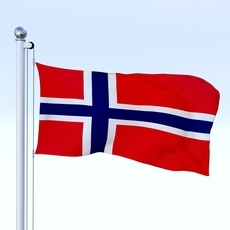 Animated Norway Flag 3D Model