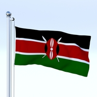 Animated Kenya Flag 3D Model