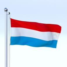 Animated Luxemburg Flag 3D Model