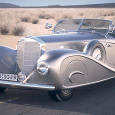 Mercedes 500K Erdmann&Rossi 1936 desert studio 3D Model