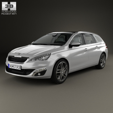 Peugeot 308 SW with HQ interior 2014 3D Model