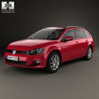 Volkswagen Golf variant with HQ interior 2014 3D Model