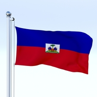 Animated Haiti Flag 3D Model