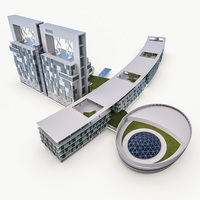 Hotel Resort Building 3D Model