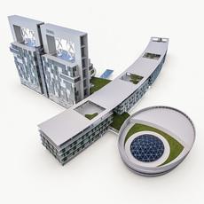 Hotel Spa Resort Building 3D Model