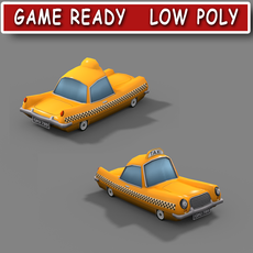 Low poly cartoon taxi 3D Model