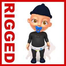Thief baby Cartoon Rigged 3D Model
