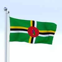 Animated Dominica Flag 3D Model