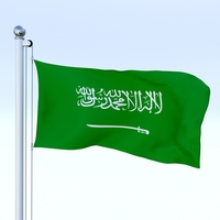 Animated Saudi Arabia Flag 3D Model
