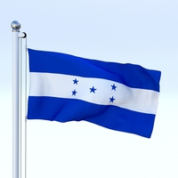 Animated Honduras Flag 3D Model