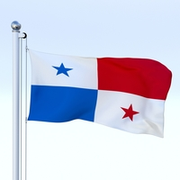 Animated Panama Flag 3D Model