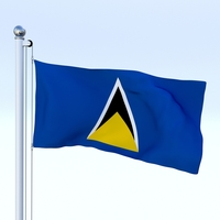 Animated Saint Lucia Flag 3D Model