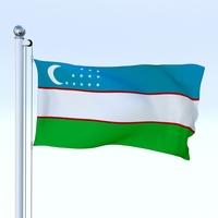 Animated Uzbekistan Flag 3D Model