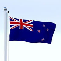 Animated New Zealand Flag 3D Model