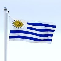 Animated Uruguay Flag 3D Model