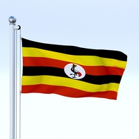 Animated Uganda Flag 3D Model