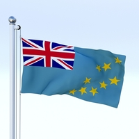 Animated Tuvalu Flag 3D Model