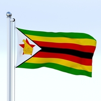 Animated Zimbabwe Flag 3D Model
