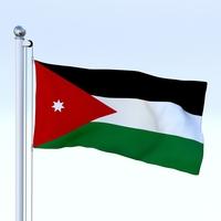 Animated Jordan Flag 3D Model