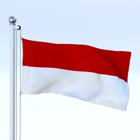Animated Indonesia Flag 3D Model