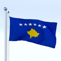 Animated Kosovo Flag 3D Model