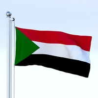 Animated Sudan Flag 3D Model
