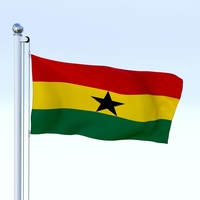 Animated Ghana Flag 3D Model