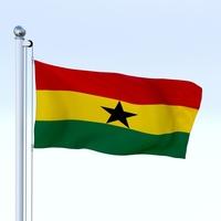 Animated Ghana Flag 3D Model