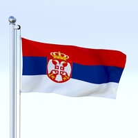 Animated Serbia Flag 3D Model
