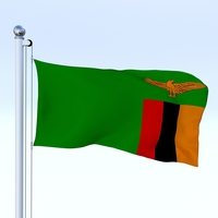 Animated Zambia Flag 3D Model
