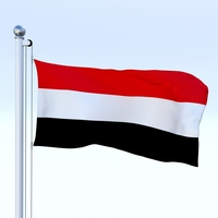 Animated Yemen Flag 3D Model
