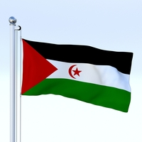 Animated Western Sahara Flag 3D Model