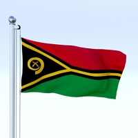 Animated Vanuatu Flag 3D Model