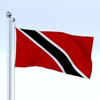 Animated Trinidad and Tobago Flag 3D Model
