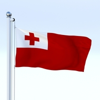 Animated Tonga Flag 3D Model