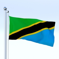 Animated Tanzania Flag 3D Model