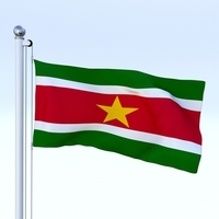Animated Suriname Flag 3D Model