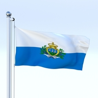 Animated San Marino Flag 3D Model