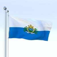 Animated San Marino Flag 3D Model