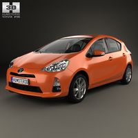 Toyota Prius C with HQ interior 2012 3D Model
